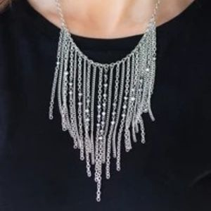 First Class Fringe Silver Necklace/ Earrings Set